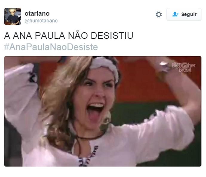 Twitter Ana Paula não desistiu (Foto: Gshow)