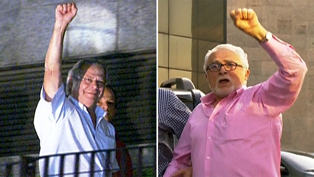 José Dirceu e José Genoino se entregam à Polícia Federal (Foto: Reprodução TV Globo)