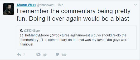 Shane West responde fãs no Twitter (Foto: Reprodução/Twitter)