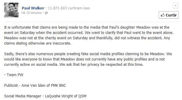 Página oficial de Paul Walker no facebook fala sobre presença de filha no evento (Foto: Reprodução / Facebook)