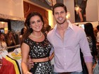 Ex-BBBs Fernanda, Kamilla e Jonas visitam lojas em São Paulo