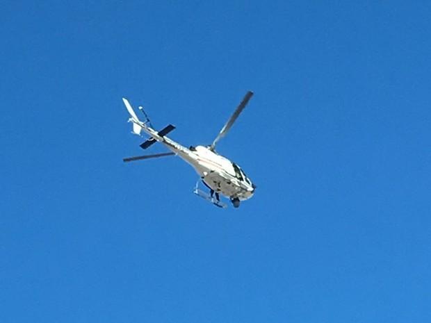 Helicóptero da PM, Potiguar I é usado nas diligências  (Foto: Alessandro Imperial)