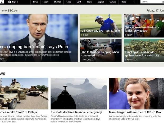 A rede BBC destacou o decreto de calamidade pública anunciado nesta sexta-feira (17) no Rio de Janeiro (Foto: Reprodução/ BBC.uk)