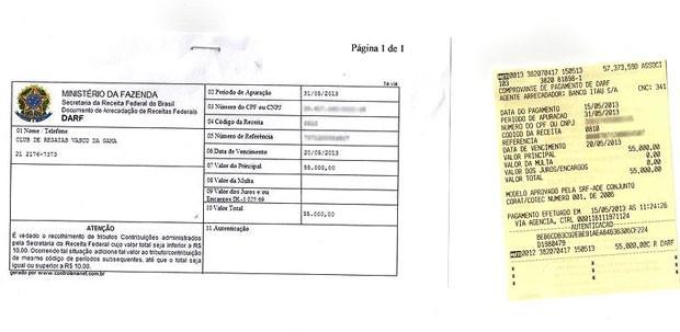documento Vasco pagamento (Foto: Reprodução)
