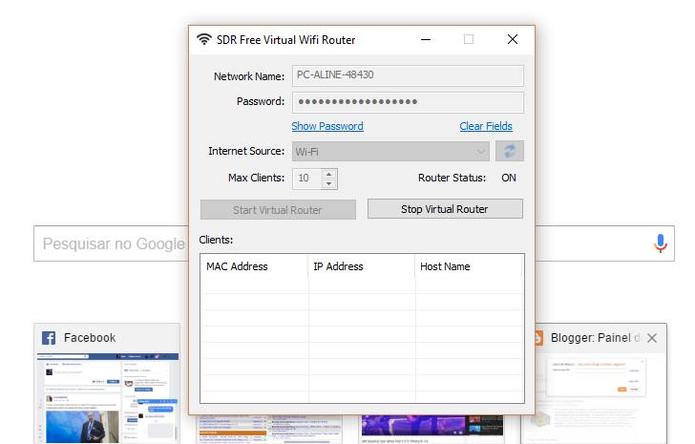 Inicie a conexão do roteador virtual no programa (Foto: Reprodução/Felipe Vinha)