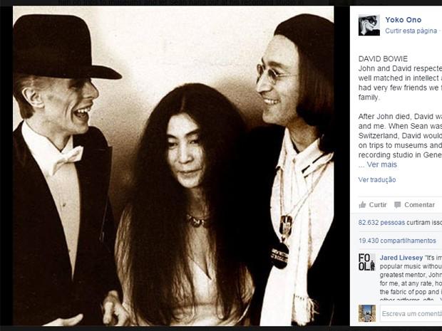 Yoko Ono faz homenagem a David Bowie (Foto: Reprodução/Facebook)
