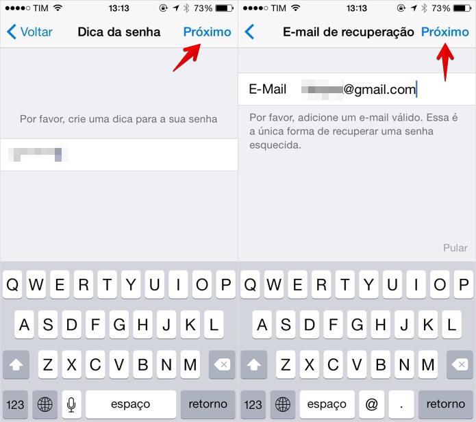 Insira uma dica de senha e o seu e-mail (Foto: Reprodução/Helito Bijora)