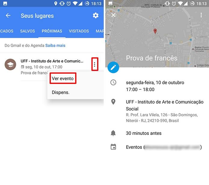 Google Maps pode exibir detalhes de evento da agenda (Foto: Reprodução/Elson de Souza)