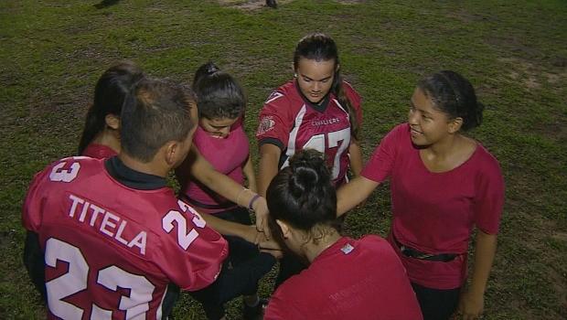 O Flag Football é praticado por mulheres (Foto: Bom dia Amazônia)