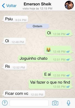 Mensagens entre Veridiana Freitas e Emerson Sheik  (Foto: Divulgação)
