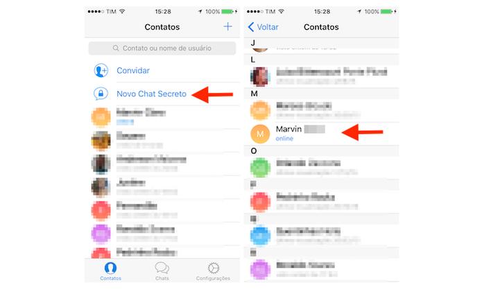 Iniciando um chat secreto no Telegram para iPhone (Foto: Reprodução/Marvin Costa) (Foto: Iniciando um chat secreto no Telegram para iPhone (Foto: Reprodução/Marvin Costa))