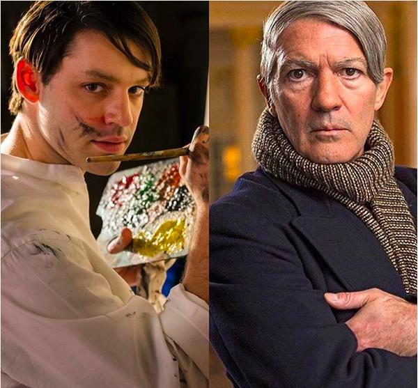 Os atores Alex Rich e Antonio Banderas vivendo Pablo Picasso em diferentes fases de sua vida (Foto: Divulgação)