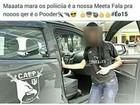 Jovem é detida após postar foto com viatura  (Reprodução/Facebook)