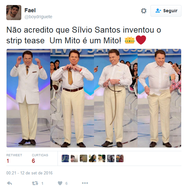 Sílvio Santos repercute na internet após trocar de roupa no palco (Foto: Reprodução/Twitter)