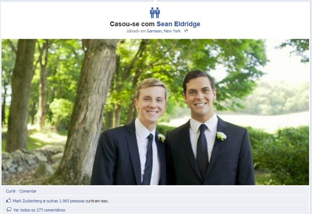 &#205;cone de casamento de Chris Hughes traz dois noivos (Foto: Reprodu&#231;&#227;o)