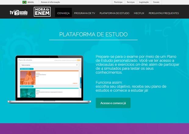 Hora do Enem oferece programa de TV, plataforma de estudos, videoaulas e simulados (Foto: Reprodução/MEC)