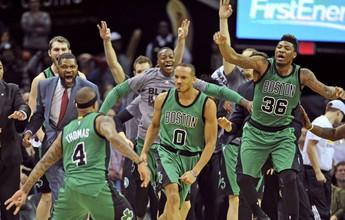 Celtics batem os Cavs em Cleveland com cesta de três no último segundo