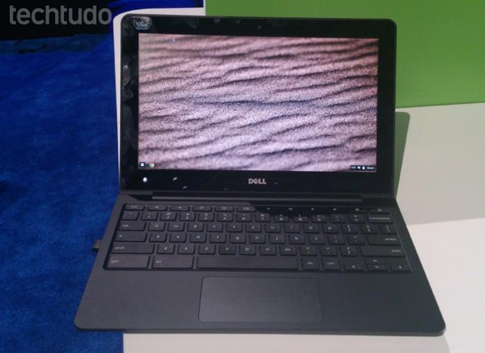 Chromebook, da Dell, tem processador dual-core Intel Haswell  e 16 GB de memória SSD (Foto: Fabrício Vitorino/TechTudo)