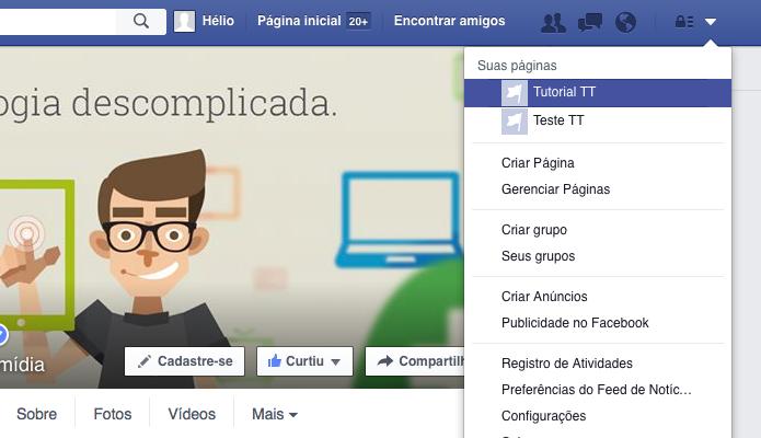 Acesse a sua página no Facebook (Foto: Reprodução/Helito Bijora)