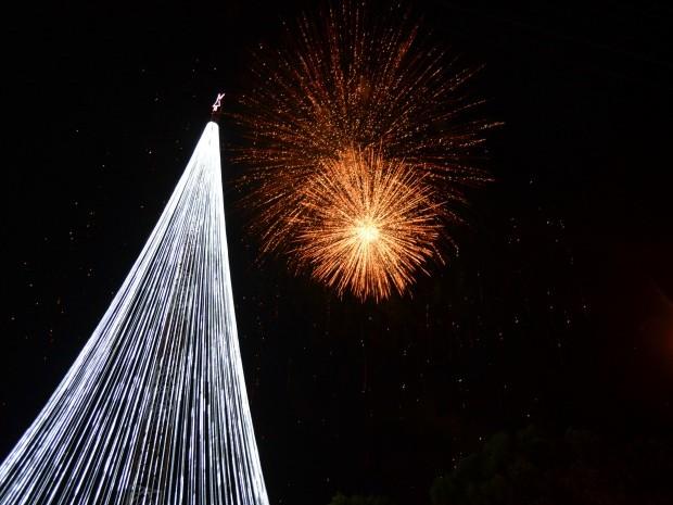 Show pirotécnico marcou a inauguração da árvore; Mais de cinco mil pessoas prestigiaram o evento na Praça da Vitória, região central de Ariquemes (Foto: Franciele do Vale/G1)