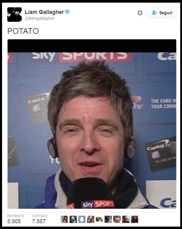 Não é raro ver Liam chamando o irmão de 'batata' no Twitter. (Foto: Reprodução/Twitter)