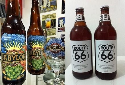 Rótulos de estreia das cervejarias Babylon e Estrada