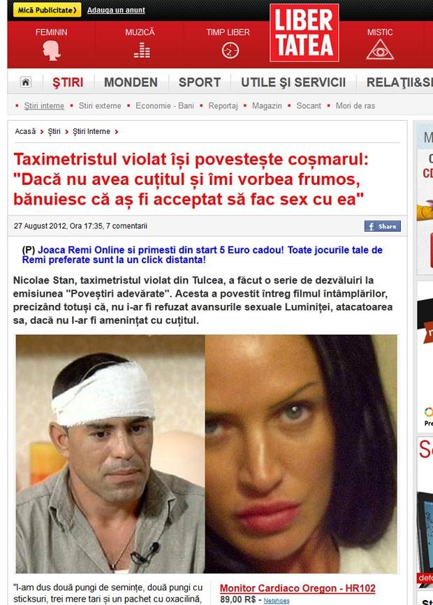 Taxista Nicolae Stan disse ter sido atacado por passageira que era sósia de Angelina Jolie. (Foto: Reprodução/Libertea)