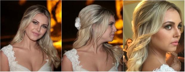 Detalhes da maquiagem da noiva Louise D'Tuani (Foto: Ag News e reprodução do Instagram)