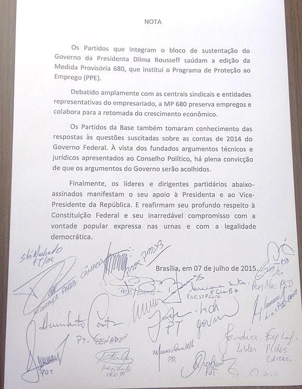 Nota de apoio a Dilma e Temer divulgada por líderes partidários (Foto: Reprodução)