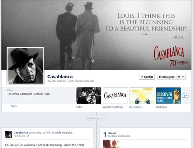 Página do filme 'Casablanca' exibirá a produção por streaming para quem mora nos EUA (Foto: Reprodução)
