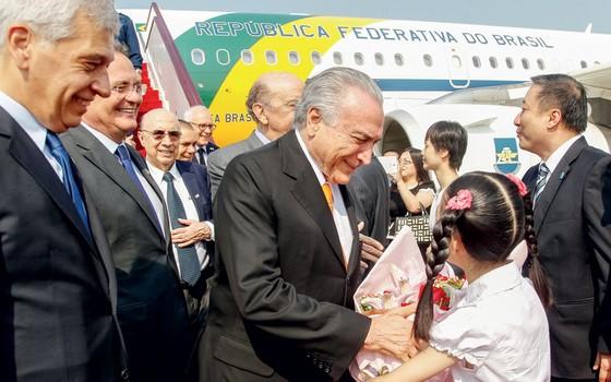 Presidente da República Michel Temer durante Chegada à China (Foto: Beto Barata/PR)