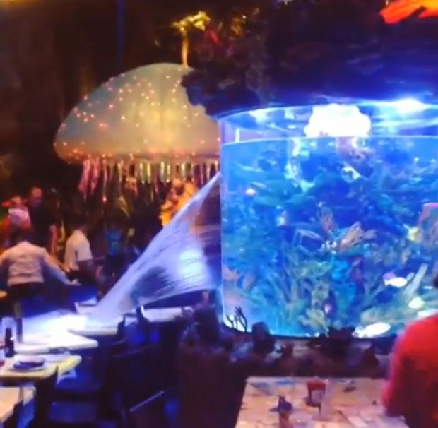 Aquário estourou no meio de restaurante e assustou clientes em restaurante da Disney (Foto: Reprodução/YouTube/MiceChat)