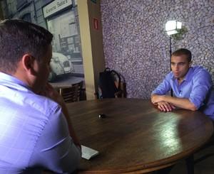 Bruno Laurence entrevista Lucas com exclusividade para o Esporte Espetacular (Foto: Sergio Gandolphi)
