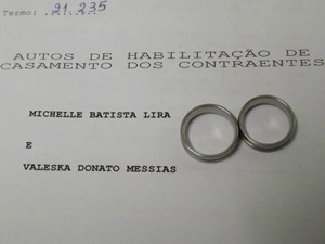 União de Val Donato e Michelle foi oficializada por meio de casamento civil (Foto: Arquivo Pessoal/Val Donato)