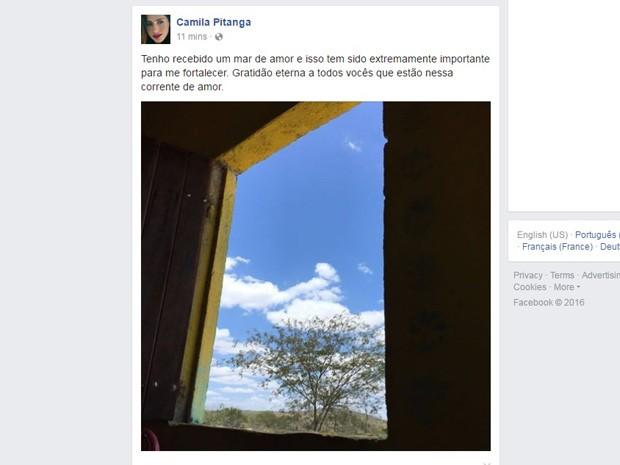 Camila Pitanga postou mensagem de agradecimento em rede social neste domingo (18) (Foto: Reprodução/Facebook)
