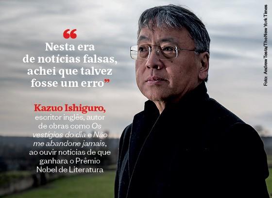 Frases que resumem a semana | Kazuo Ishiguro (Foto: Andrew Testa/The New York Times)