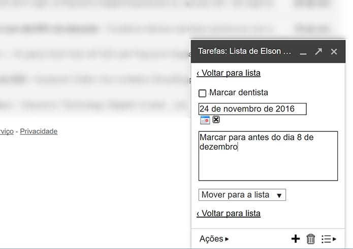 Usuário pode digitar detalhes de tarefas e fazer observações (Foto: Reprodução/Elson de Souza)