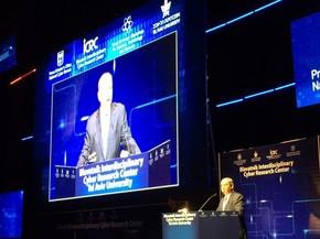Primeiro ministro de Israel, Benjamin Netanyahu, discursa durante feira de cibersegurança em Tel Aviv (Foto: Helton Simões Gomes/G1)