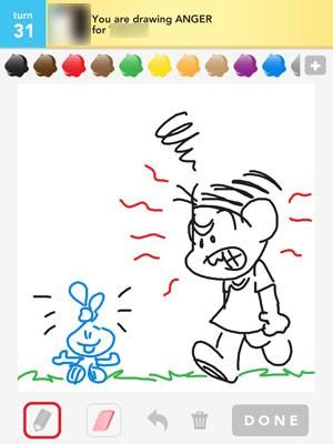 Marina Sousa usa personagens da Turma da Mônica para fazer seus desenhos no Draw Something (Foto: Reprodução)