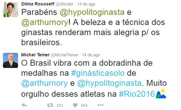 G1 - Temer e Dilma rivalizam no Twitter em mensagens a medalhistas ... 4498caf45e9c4