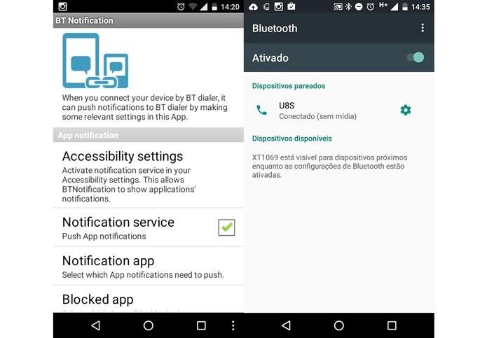 Aplicativo BT Notification é necessário para acessar todas as funções do U8S (Foto: Reprodução / Dario Coutinho)