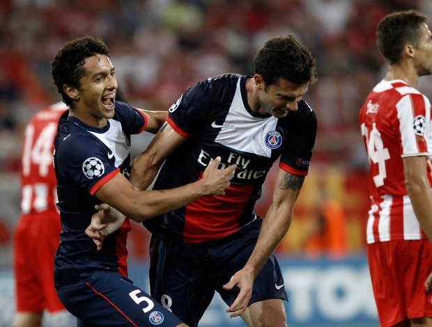 Marquinhos e Thiago Motta gol PSG (Foto: Reuters)
