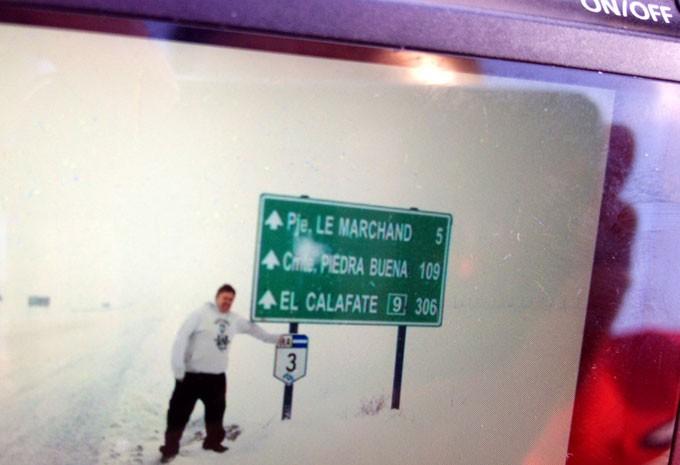 Imagem na câmera de Alejandro Oyarzo mostra a nevasca que os chilenos pegaram no caminho para o Brasil