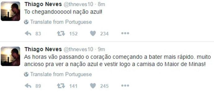Thiago Neves Cruzeiro (Foto: Reprodução/ Twitter)