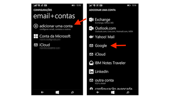 Iniciando a configuração de uma conta do Google no Windows Phone (Foto: Reprodução/Marvin Costa)