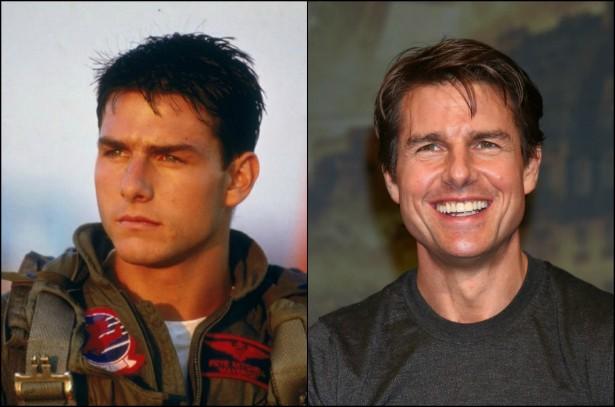 Tom Cruise chegou aos 52 anos de idade com milhões de dólares na conta. Pudera: hoje é um dos galãs mais longevos de Hollywood. O astro da franquia 'Missão: Impossível', porém, já fazia sucesso três décadas atrás, com produções como o clássico 'Top Gun: Ases Indomáveis' (1986). (Foto: Reprodução e Getty Images)