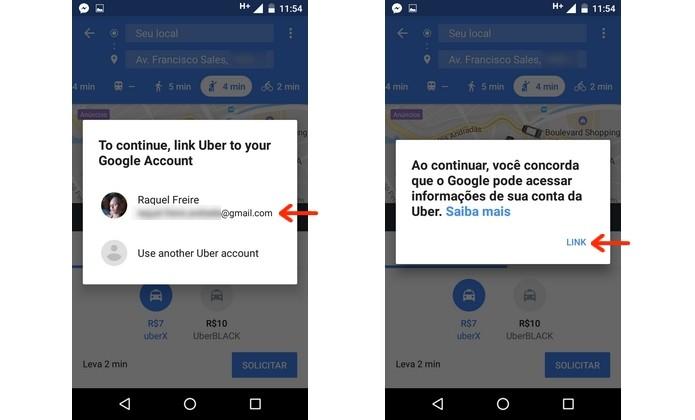 Integração do Uber com conta do Google (Foto: Reprodução/Raquel Freire)