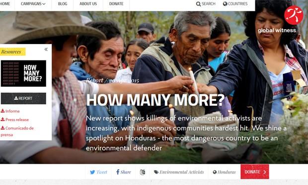 Site da organização Global Witness publicou relatório 'How man more?', sobre violência contra ambientalistas (Foto: Reprodução)