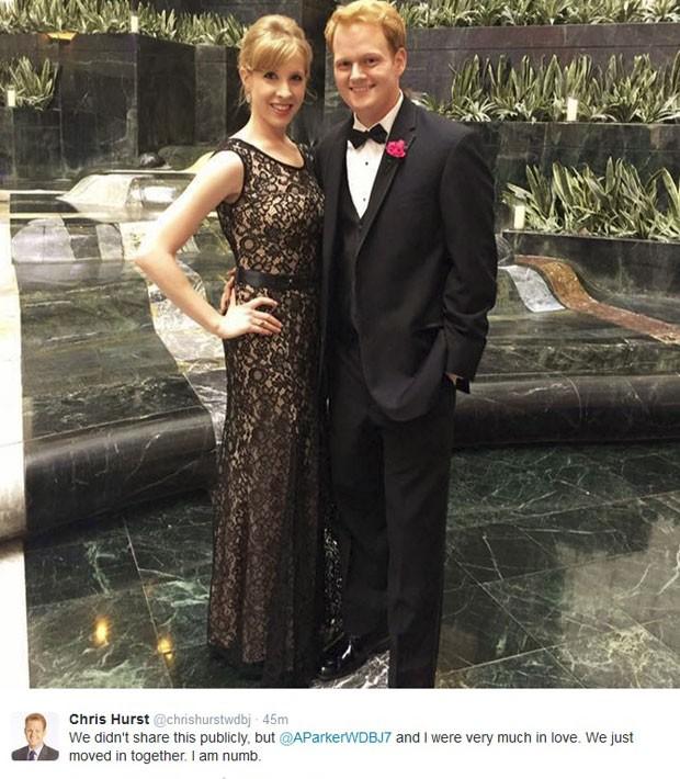 Alison Parker e o namorado, Chris Hurst, em post dele no Twitter (Foto: Reprodução/Chris Hurst/Twitter)