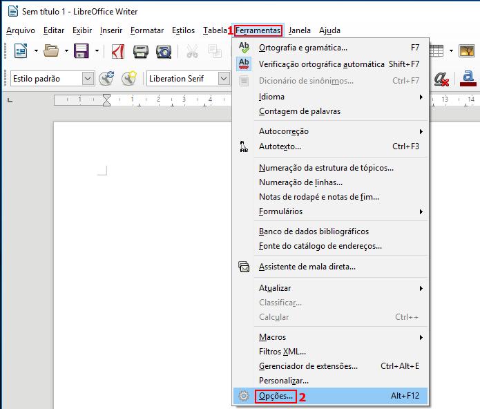 Acessando as opções do LibreOffice (Foto: Reprodução/Edivaldo Brito)